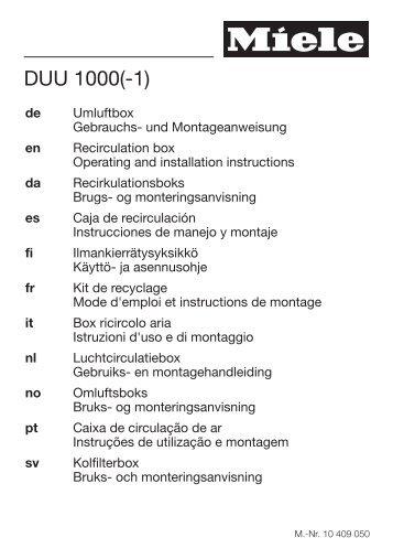 Miele DUU 1000-1 - Istruzioni d'uso/Istruzioni di montaggio