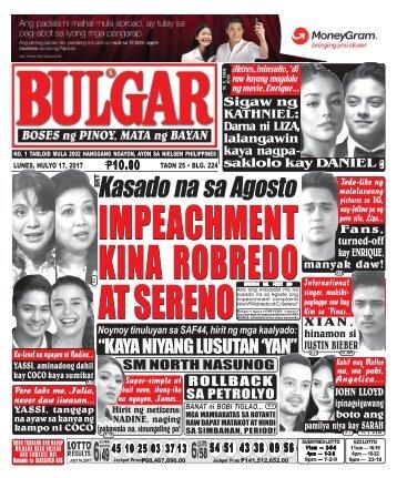 JULY 17, 2017 BULGAR: BOSES NG PINOY, MATA NG BAYAN