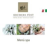 Menù SPA | Krumers Post Hotel & SPA, Seefeld in Tirol