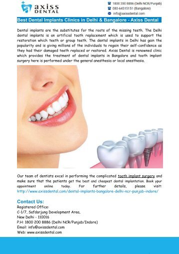 Best Dental Implants Clinics in Delhi & Bangalore - Axiss Dental