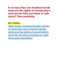 In no less than one hundred words what are the rights of stockholders and how do they purchase or sale stock? Give examples