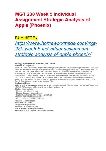 MGT 230 Week 5 Individual Assignment Strategic Analysis of Apple (Phoenix)