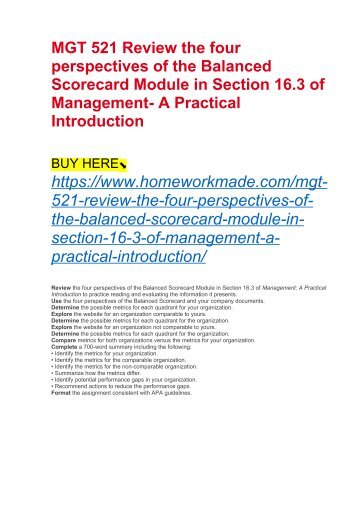 MGT 521 Review the four perspectives of the Balanced Scorecard Module in Section 16.3 of Management- A Practical Introduction