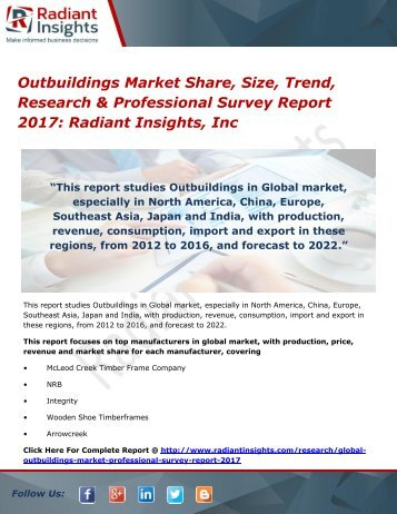 Outbuildings Market Share, Size, Trend, Research & Professional Survey Report 2017 Radiant Insights, Inc