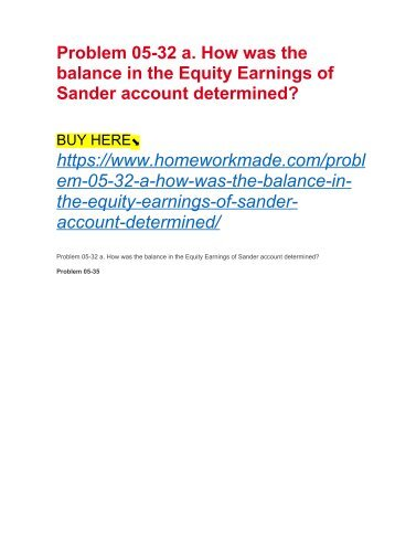Problem 05-32 a. How was the balance in the Equity Earnings of Sander account determined?