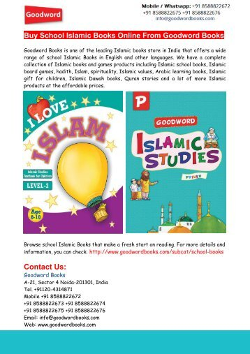 Buy School Islamic Books Online From Goodword Books