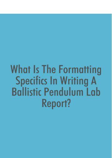 ballistic pendulum lab report