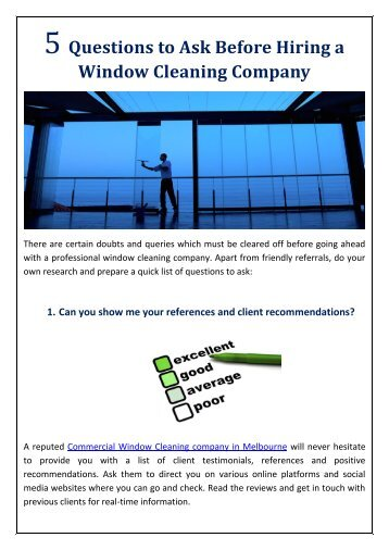 5 Questions to Ask Before Hiring a Window Cleaning Company