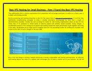 Best VPS Hosting for Small Business - How I Found the Best VPS Hosting - Top10webhostingsites.net
