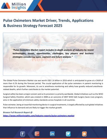 Pulse Oximeters Market Driver, Trends, Applications & Business Strategy Forecast 2025