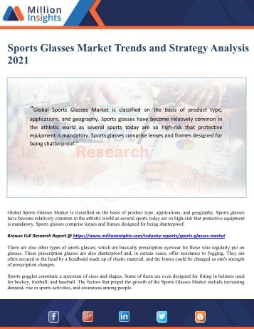 Sports Glasses Market Trends and Strategy Analysis 2021