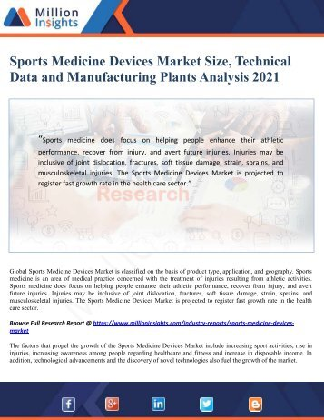Sports Medicine Devices Market Size, Technical Data and Manufacturing Plants Analysis 2021
