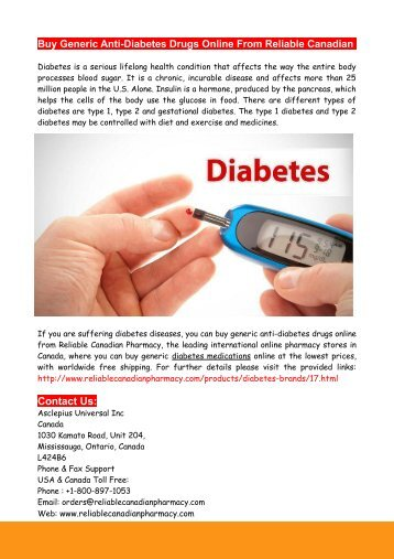 Buy Generic Anti-Diabetes Drugs Online From Reliable Canadian