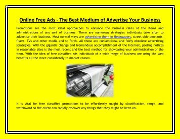 Online Free Ads - The Best Medium of Advertise Your Business