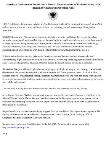 Jamaican Government Enters into a Formal Memorandum of Understanding