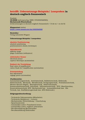 Uebersetzungs-Beispiele: absolute Positionierung/ Adressbereich/ elektrischer Sensor/ Endwert der Verstaerkung