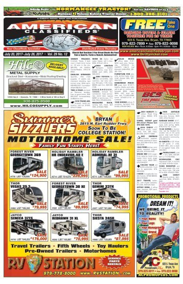 American Classifieds July 20th Edition Bryan/College Station