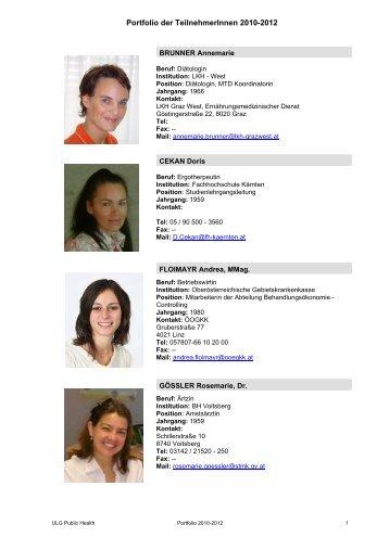Portfolio der TeilnehmerInnen 2010-2012 - Public Health