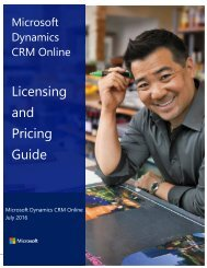 Microsoft Dynamics CRM Online Licensing and Pricing Guide Spring 2016