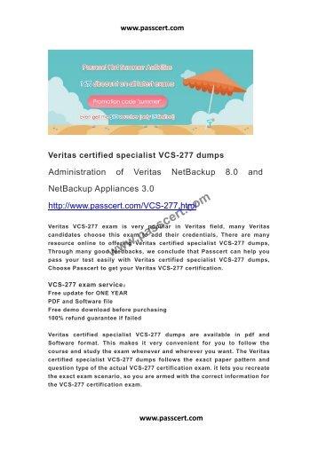 Veritas certified specialist VCS-277 dumps