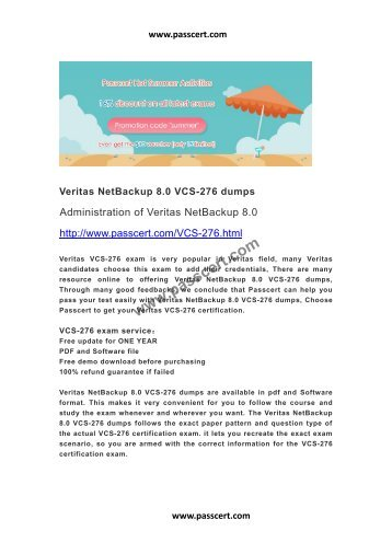 Veritas NetBackup 8.0 VCS-276 dumps