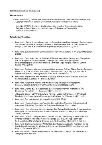 IN Schriftenverzeichnis - Fachbereich Evangelische Theologie