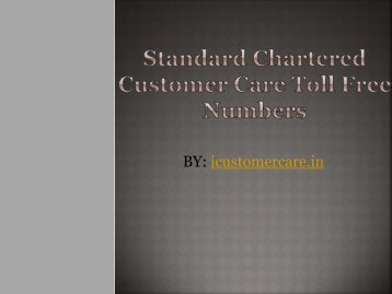 Standard Chartered Customer Care Toll Free Numbers