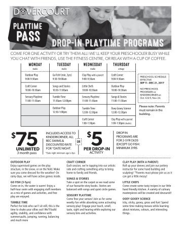 Dovercourt Fall 2017 Drop-in Playtime programs