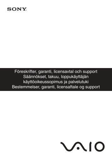 Sony VPCW11S1E - VPCW11S1E Documenti garanzia Svedese