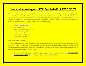 Uses and Advantages of FEP Belt behalf of PTFE BELTS