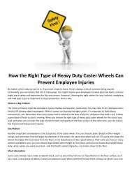 How the Right Type of Heavy Duty Caster Wheels Can Prevent Employee Injuries