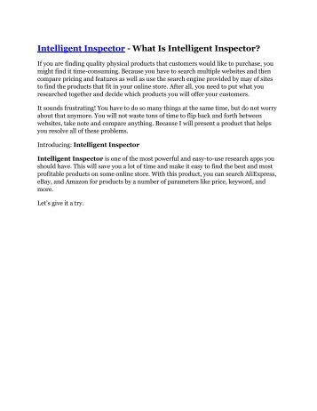 Intelligent Inspector review demo and premium bonus