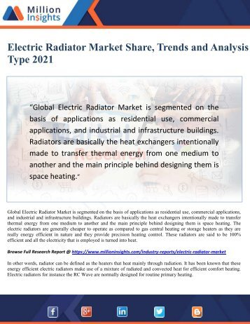 Electric Radiator Market Share, Trends and Analysis by Type 2021