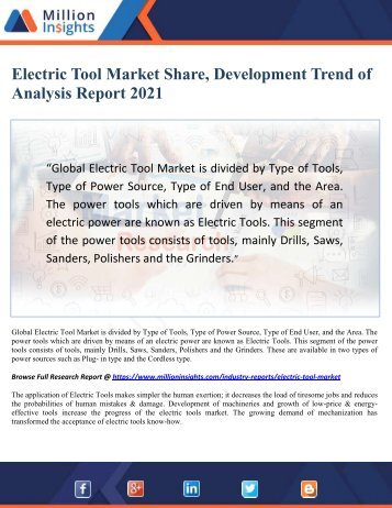 Electric Tool Market Share, Development Trend of Analysis Report 2021