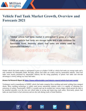 Vehicle Fuel Tank Market Growth, Overview and Forecasts 2021