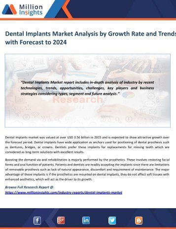Dental Implants Market Analysis by Growth Rate and Trends with Forecast to 2024