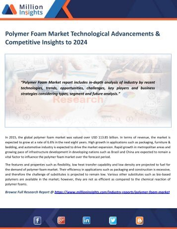 Polymer Foam Market Technological Advancements & Competitive Insights to 2024