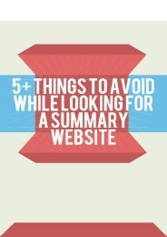 5+ Things to Avoid While Looking for a Summary Website?