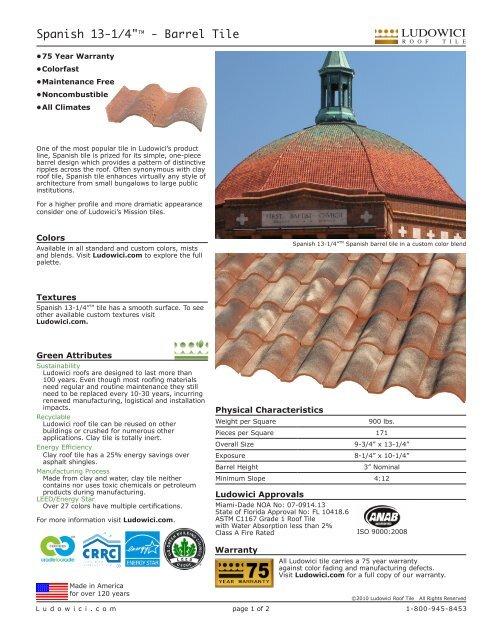 "Spanish 13-1/4""TM - Barrel Tile - Ludowici Roof Tile"