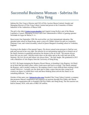 Successful Business Woman - Sabrina Ho Chiu Yeng