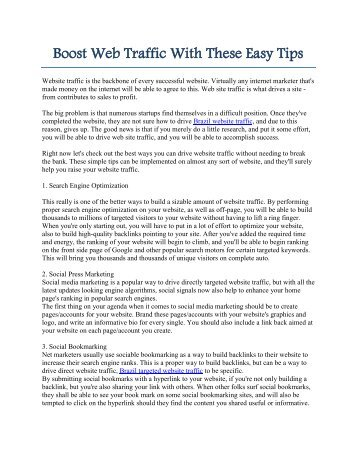 Increase Web Traffic With These Easy Tips