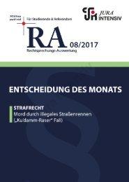 RA 08/2017 - Entscheidung des Monats