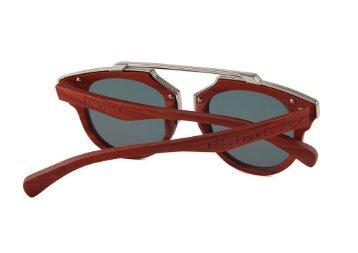 "NATURJUWEL ""Arthur "" Holzbrille rot - braun - silber"
