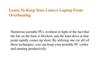 Learn To Keep Your Lenovo Laptop From Overheating