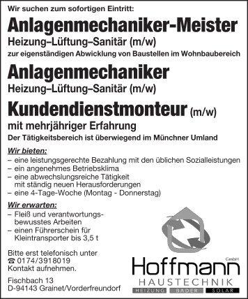 Stellenanzeige Haustechnik Hoffmann