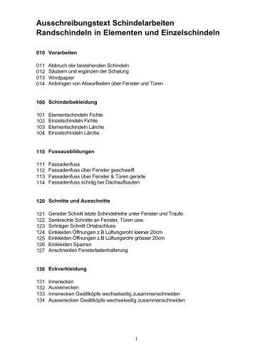 Ausschreibungstext Schindelarbeiten ... - Peter Müller AG