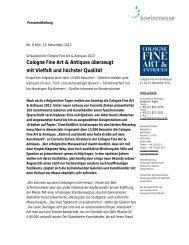 Cologne Fine Art & Antiques überzeugt mit Vielfalt und ... - press1
