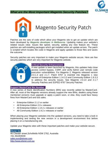 The Most Important Magento Security Patches