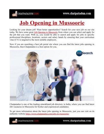 Job Opening in Mussoorie