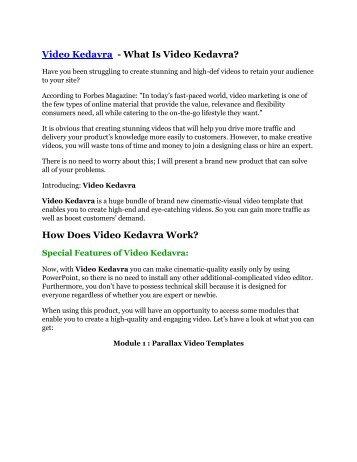 Video Kedavra review in detail – Video Kedavra Massive bonus